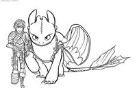 Икиинг и Беззубик - скачать и распечатать раскраску. Раскраска Ночная Фурия, дракон, викинг