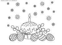 Кулич, яйца, верба - скачать и распечатать раскраску. Раскраска пасха, кулич, верба