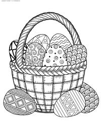 Корзина Пасхальных яйц - скачать и распечатать раскраску. Раскраска Пасха, яйца, корзина
