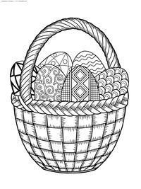 Корзина с Пасхальными яйцами - скачать и распечатать раскраску. Раскраска Пасха, яйца, корзина