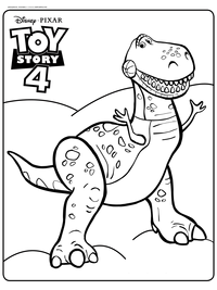 Динозавр Рекс - скачать и распечатать раскраску. Игрушка, динозавр
