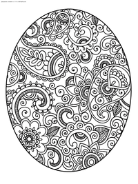 Пасхальное яйца - скачать и распечатать раскраску. Раскраска Пасха, антистресс, яйцо
