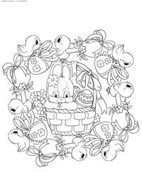 Пасхальный кролик в корзинке - скачать и распечатать раскраску. Раскраска Пасха, кролик