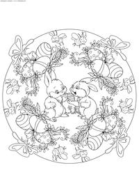 Пасхальные кролики - скачать и распечатать раскраску. Раскраска Пасха, кролик, мандала