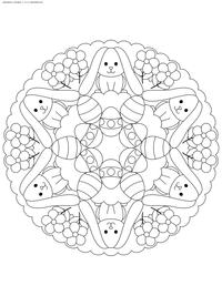 Мандала Пасхальные кролики - скачать и распечатать раскраску. Раскраска мандала, кролик, Пасха