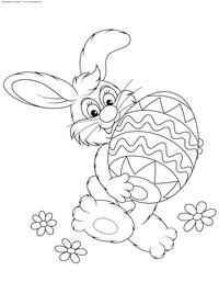 Пасхальный кролик - скачать и распечатать раскраску. Раскраска пасха, кролик, яйцо