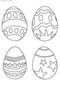 Крашенные яйца - скачать и распечатать раскраску. Раскраска Украшенные яйца к пасхе, картинка с пасхальными яйцами скачать