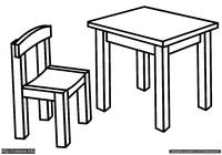 Мебель - скачать и распечатать раскраску. Раскраска Раскраска для малышей стол и стул, простая раскраска для маленьких детей мебель