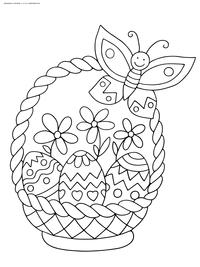 Корзинка с Пасхальными яйцами - скачать и распечатать раскраску. Раскраска пасха, яйца