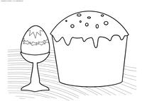 Пасхальное угощение - скачать и распечатать раскраску. Раскраска кулич, яйцо