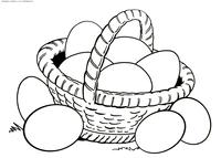 Корзинка с яйцами к Пасхе - скачать и распечатать раскраску. Раскраска яйца, корзина