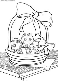Пасхальная корзинка - скачать и распечатать раскраску. Раскраска корзина, яйца, пасха