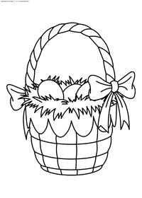 Корзина с пасхальными яйцами - скачать и распечатать раскраску. Раскраска корзина, яйца, пасха