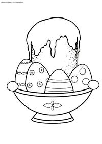 Угощение на Пасху - скачать и распечатать раскраску. Раскраска пасха, кулич, яйца