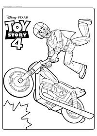 Каскадёр Дюк Бубумс  - скачать и распечатать раскраску. Раскраска Мотоцикл, каскадер