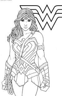 Чудо-женщина - скачать и распечатать раскраску. Раскраска Амазонка, супергерой DC, Диана, принцесса амазонок