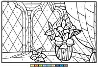 Цветы в комнате - скачать и распечатать раскраску. Раскраска букет, цветок, по номера