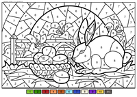 Пасхальный кролик - скачать и распечатать раскраску. Раскраска пасха, по номерам
