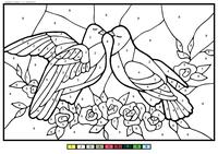 Голуби - скачать и распечатать раскраску. Раскраска по номерам, голубь, голубка