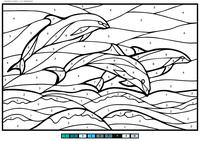 Дельфины - скачать и распечатать раскраску. Раскраска море, дельфины, по номерам