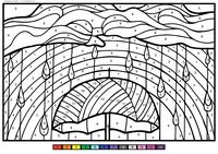 Дождь - скачать и распечатать раскраску. Раскраска зонт, тучи, дождь, по номерам