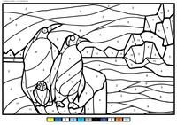 Пингвины на льдине - скачать и распечатать раскраску. Раскраска пингвин, по номерам