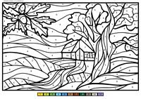 Дуб - скачать и распечатать раскраску. Раскраска дерево, по номерам, дом