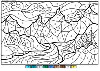 Зимняя долина - скачать и распечатать раскраску. Раскраска зима, горы, по номерам