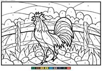 Петух у изгороди - скачать и распечатать раскраску. Раскраска петух, по номерам