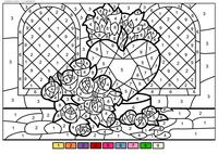 Розы и сердце - скачать и распечатать раскраску. Раскраска по номерам