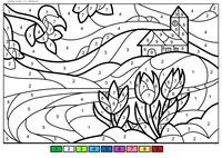 Весенние цветы - скачать и распечатать раскраску. Раскраска весна, по номерам