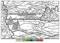 Летний пейзаж - скачать и распечатать раскраску. Раскраска лето, по номерам