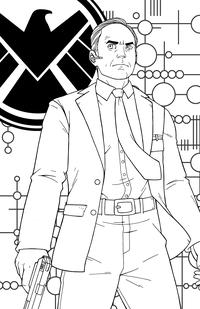 Агент Щ.И.Т. Фил Колсон - скачать и распечатать раскраску. Раскраска Персонаж вселенной Marvel