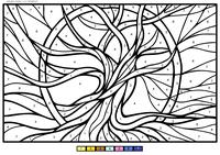 Дерево - скачать и распечатать раскраску. Раскраска по номерам, ствол, дерево