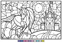 Единорог - скачать и распечатать раскраску. Раскраска единорог, по номерам