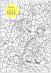 Динозавры - скачать и распечатать раскраску. Раскраска по символам