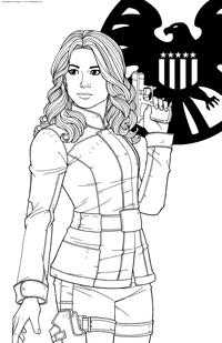 Секретный агент Щ.И.Т. Шэрон Картер - скачать и распечатать раскраску. Раскраска Персонаж комиксов Марвел, Агент 13
