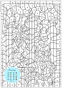 Девочка и кот у окна - скачать и распечатать раскраску. Раскраска по символам