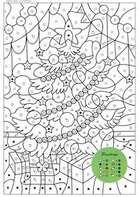 Новогодняя елка и подарки - скачать и распечатать раскраску. Раскраска по символам