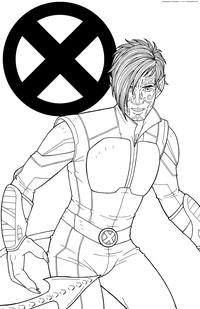Ночной Змей - скачать и распечатать раскраску. Раскраска Курт Вагнер, мутант, люди Икс, X-Men