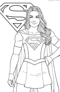 Супергёрл - скачать и распечатать раскраску. Раскраска Марвел, супергероиня, супергерой