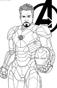 Железный человек - скачать и распечатать раскраску. Раскраска Тони Старк, супергерой, герой Марвел