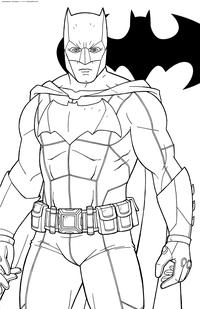 Бэтмен - скачать и распечатать раскраску. Раскраска Персонаж DC Comics, супергерой, Брюс Уэйн, Темный рыцарь