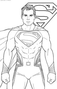 Супермен - скачать и распечатать раскраску. Раскраска Супергерой комиксов, персонаж DC Comics, Кларк Кент