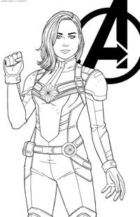 Капитан Марвел - скачать и распечатать раскраску. Раскраска Капитан Кэрол Денверс, супергерой Марвел