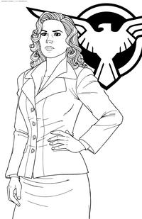 Тайный агент Пегги Картер - скачать и распечатать раскраску. Раскраска Персонаж Marvel Comics