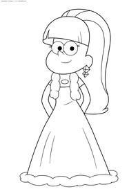 Пасифика в платье - скачать и распечатать раскраску. Раскраска Девочка