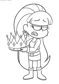 Пасифика с короной - скачать и распечатать раскраску. Раскраска Девочка