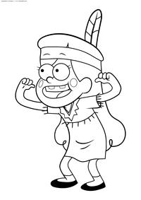 Мэйбл в костюме индейца - скачать и распечатать раскраску. Раскраска Девочка из Гравити Фолз
