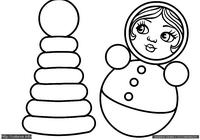Пирамидка и неваляшка - скачать и распечатать раскраску. Раскраска Раскраска пирамидка для малышей, раскраска неваляшка для маленьких детей скачать и распечатать бесплатно